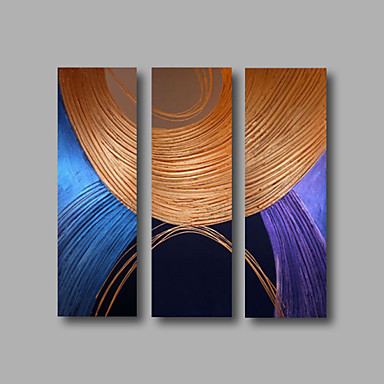 Ready to Hang Stretched Framed Hand-Painted Oil Painting Three Panels Canvas Wall Art Modern Blue Brown