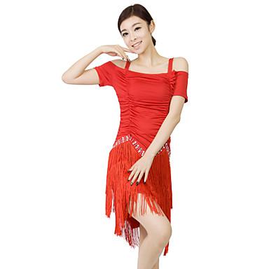 Dança Latina Vestidos Mulheres Treino Fibra de Leite Cristal/Strass / Plissado / Borla(s) 2 Peças Manga Curta Malha Collant / Shorts