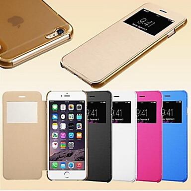 Pouzdro Uyumluluk iPhone 5 Apple iPhone 5 Kılıf Pencereli Oto Uyu / Uyan Flip Buzlu Tam Kaplama Kılıf Tek Renk Sert PU Deri için iPhone