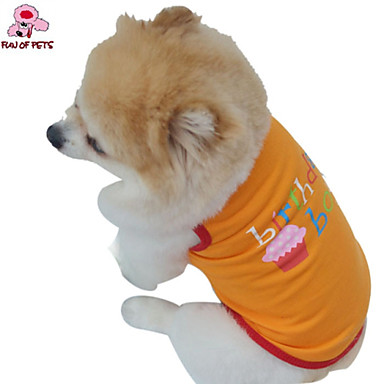 Cat Dog Costume Shirt / T-Shirt Outfits Dog Clothes Cosplay Birthday Holiday Wedding Fashion Letter & Number Orange Purple Costume For