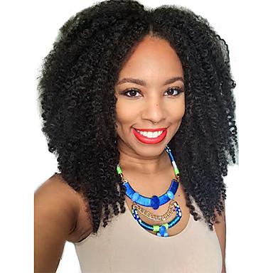 Human Hair Lace Wig Afro Kinky Curly U Part 100% Hand Tied African American Wig Natural Hairline 130% Density Dark Black Black Dark Brown