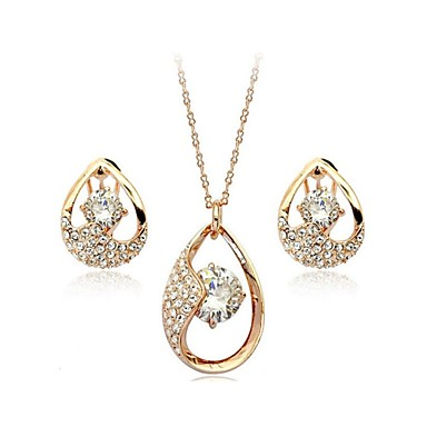 Women's Crystal Jewelry Set - Crystal, Imitation Pearl Include Silver / Golden For Wedding / Party / Daily / Earrings / Necklace