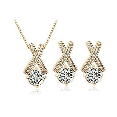 Crystal Jewelry Set Classic Elegant Unique Design X Shape Pendant Necklace Earrings Girlfriend Gift