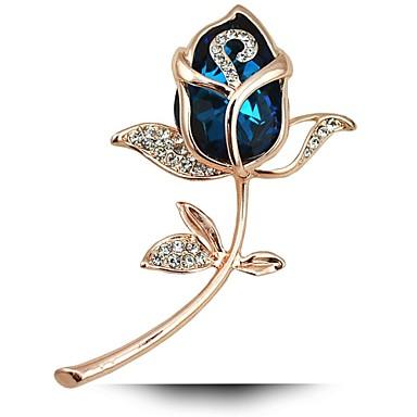 legújabb romantikus rózsa virág kitűző aranyozott ékszerek Női Emeral kristály pin bross divat sál kiegészítők