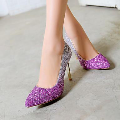 Feminino Sapatos Sintético Primavera Verão Outono Salto Agulha Gliter com Brilho para Casamento Casual Social Cinzento Vermelho Rosa