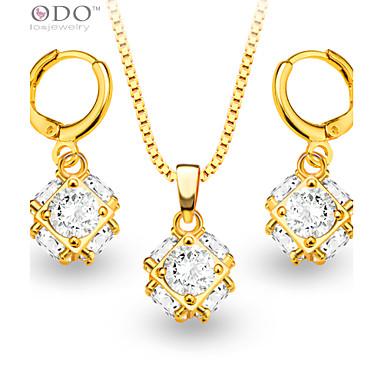 Mulheres Cristal / Chapeado Dourado / Imitações de Diamante Conjunto de jóias Brincos / Colares - Dourado Conjunto de Jóias Para