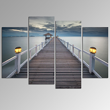 VISUAL STAR®Bridge On Sea Landscape Canvas Wall Art Modern Wall Decor Canvas  Art Ready