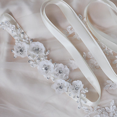 Satin Wedding Party / Evening Dailywear Sash With Beading Pearl Sequin Appliques Floral Women's Sashes