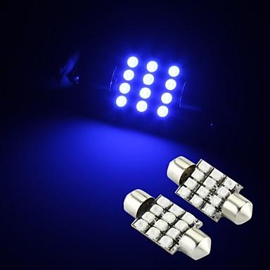 2 x azuis 12 SMD LED festão cúpula interior lâmpada 36 milímetros