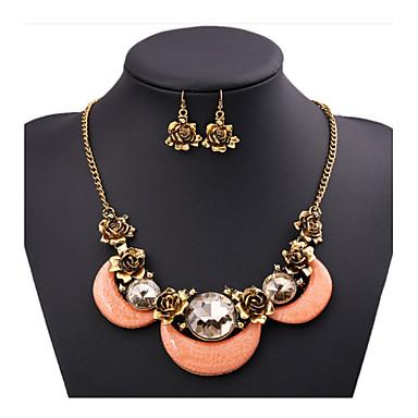 Damen Schmuckset Kubikzirkonia vergoldet Diamantimitate Aleación Rosen Blume Luxus Retro Party Freizeit Europäisch Ohrringe Halsketten