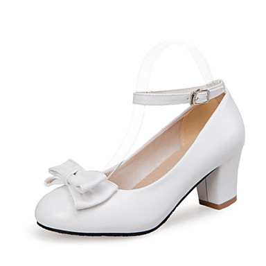 Sko-Kunstlær-Tykk hæl-Komfort / Rund tå-høye hæler-Bryllup / Kontor og arbeid / Fritid-Svart / Blå / Rosa / Hvit
