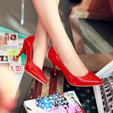 Mulheres Sapatos Courino Primavera Verão Salto Agulha para Escritório e Carreira Ao ar livre Branco Preto Bege Vermelho Rosa claro