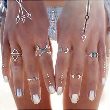6PCS Vintage Turkish Beach Punk Moon Arrow Ring Set Ethnic Carved Silver Plated Boho Midi Finger Ring Knuckle