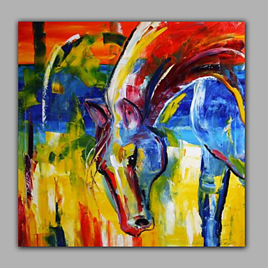 állati olajfestmény szép színes lófej dekorációval