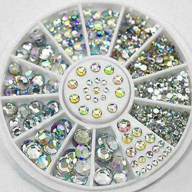2/3/4/5mm Nail Art Tips Crystal Glitter Rhinestone 3D Nail Art Decoration+Wheel
