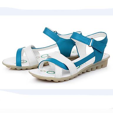 Kényelmes - Alacsony - Női cipő - Szandál - Szabadidős / Irodai - Bőr - Kék / Piros