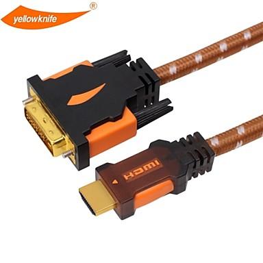 Yellowknife cabo HDMI para DVI de ouro de alta velocidade banhado ligar 1080p macho-macho para ps3 hdtv xbox