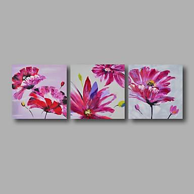 Pintados à mão Floral/Botânico Panorâmico horizontal, Modern Tela de pintura Pintura a Óleo Decoração para casa 3 Painéis