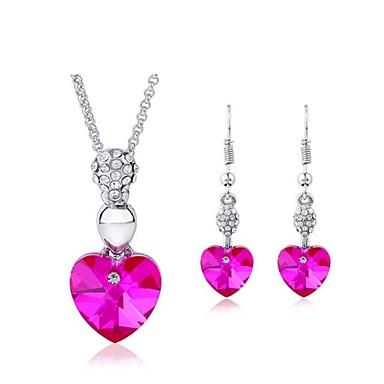 Mulheres Cristal Conjunto de jóias Brincos Colares - Roxo Rosa Verde Azul Para Casamento Festa Diário Casual