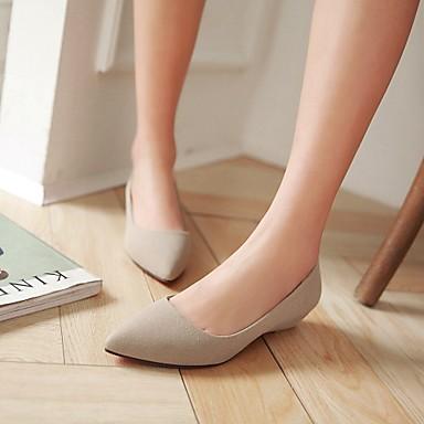 Feminino Sapatos Courino Primavera Verão Outono Salto Baixo Para Casual Preto Bege Vermelho Verde