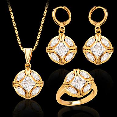 Mulheres Conjunto de Jóias Cristal Chapeado Dourado Imitações de Diamante Bola Casamento Festa Diário Casual Esportes Anéis Brincos