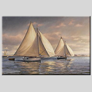 Maalattu Abstraktit maisemakuvatEuropean Style / Moderni / Classic / Realismi / Pastoraali 1 paneeli Kanvas Hang-Painted öljymaalaus For