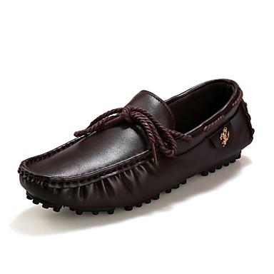 Muške Udobne cipele Umjetna koža Proljeće Ljeto Jesen Kauzalni Udobne cipele Vezanje Obala Crn Braon
