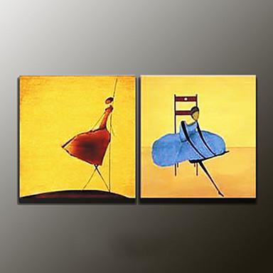 손으로 그린 추상적인우아한 2판넬 캔버스 항으로 그린 유화 For 홈 장식