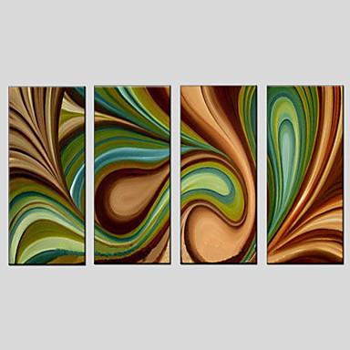 Maalattu AbstraktiModerni / Classic / Perinteinen / Pastoraali / European Style 4 paneeli Kanvas Hang-Painted öljymaalaus For