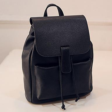 Naisten Kassit PU Koululaukku / Matkalaukku / Backpack varten Shoppailu / ulko- Beesi / Tumman harmaa / Vaaleanharmaa