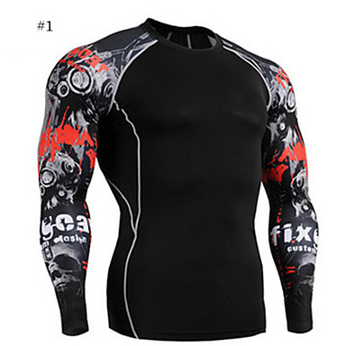 Muškarci Dugi rukav Trčanje Kompresivna odjeća Kompresija Smooth Sportska odjeća Sposobnost Biciklizam/Bicikl Trčanje Terilen Tight1 # #