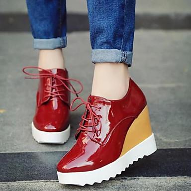 Ženske Proljeće Ljeto Jesen Udobne cipele Umjetna koža Aktivnosti u prirodi Formalne prilike Puna potpetica Vezanje Obala Crn Pink Crvena