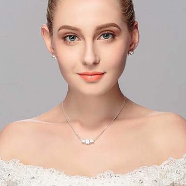 Mulheres Outros Conjunto de jóias Brincos / Colares - Regular Prateado Para Casamento / Festa / Ocasião Especial