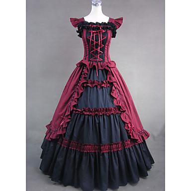 Keskiaika Viktoriaaninen Asu Naisten Mekot Juhla-asu Naamiaisasu Vintage Cosplay Puuvilla Hihaton Pitkä Pituus