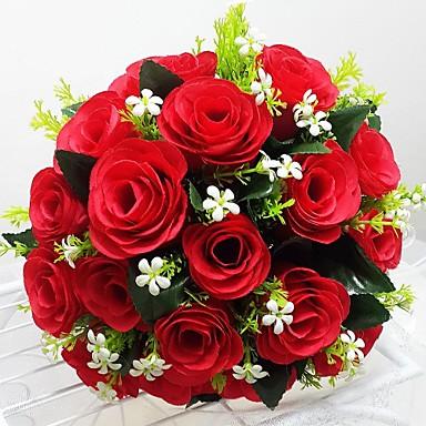 Bouquets de Noiva Redondo Rosas Buquês Casamento Festa / noite Cetim 9.84