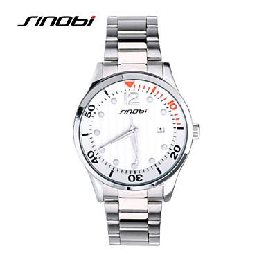 SINOBI Erkek Spor Saat Bilek Saati Quartz Takvim Su Resisdansı Spor Saat Alaşım Bant Gümüş Gümüş
