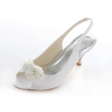 Kadın Ayakkabı Streç Saten Yaz Stiletto Topuk Düğün Elbise Parti ve Gece için Kristal Saten Çiçek Beyaz