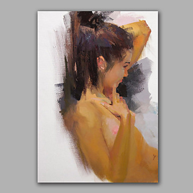 Artist Abstract Girl Oil Painting Framed Design Wall Art Living Room Decoration