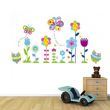 muurstickers muur stickers, de stijl van de uil en de vlinders in de bloemen pvc muurstickers