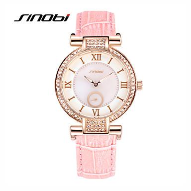 SINOBI Mulheres Relógio de Moda Quartzo Impermeável Couro Banda Rosa Rosa claro