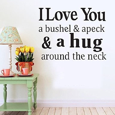 Hot I Love You A Bushel, And A Peck,And A Hug Around The Neck...Wall Quote Decal Vinyl Lettering Saying