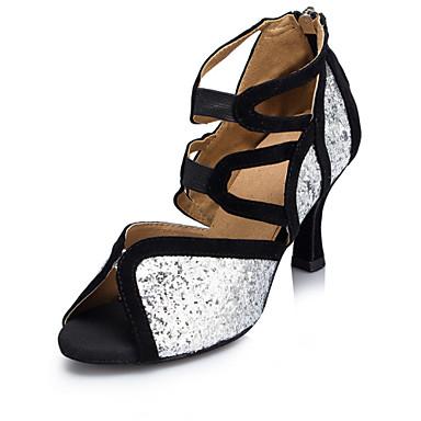בגדי ריקוד נשים נעליים לטיניות עדרים / Paillette סנדלים / עקבים בבית / הצגה / מקצועי נצנצים / פתחים / רוכסן עקב מותאם כסף מותאם אישית