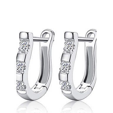 Women's Crystal Stud Earrings - Sterling Silver, Rhinestone, Silver Fashion Silver For Wedding / Party / Daily