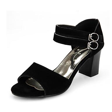 Sandaalit-Leveä korko-Naisten kengät-Nahka-Musta-Puku-Avokärkiset