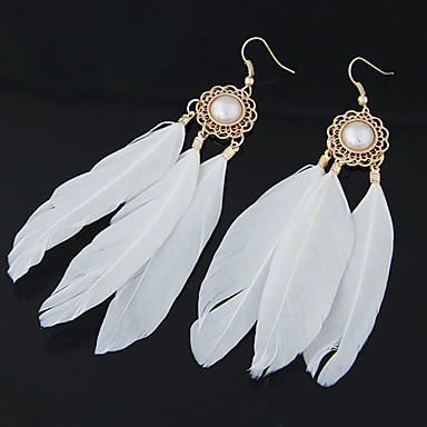Drop Earrings Feather Alloy Fashion Feather Jewelry Party Daily Casual 2pcs
