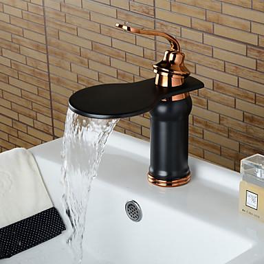 עכשווי סט מרכזי מפל מים שסתום קרמי חור ידית אחת אחת ברונזה ששופשפה בשמן, חדר רחצה כיור ברז