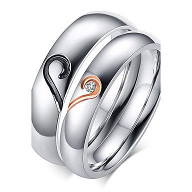 85ca927d40 Women's Couple Rings Band Ring Zircon Titanium Steel Gold Plated Heart Love  Friendship Ladies Birthstones everyday Ring Jewelry Silver For Wedding  Party ...