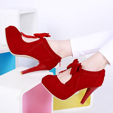 Mulheres Sapatos Courino Primavera / Verão / Outono Salto Agulha / Plataforma Laço Preto / Bege / Vermelho / Social