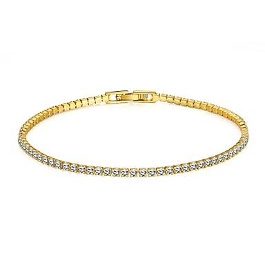 Női Strassz Arannyal bevont Hamis gyémánt Rózsa arany bevonattal Tenisz karkötő - Divat minimalista stílusú Aranyozott Arany/Rózsaszín