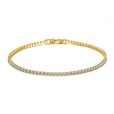 Women's Rhinestone Gold Plated Imitation Diamond Tennis Bracelet - Fashion Simple Style Golden Gold / Pink Bracelet For Christmas Gifts